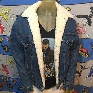 Vintage Levi's Denim Jean Sherpa Coat Jacket S